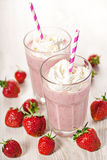 Strawberry fresh milkshake summer drink. Strawberry fresh milkshake cold summer berry drink Royalty Free Stock Photos
