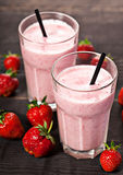 Strawberry fresh milkshake summer drink. Strawberry fresh milkshake cold summer berry drink Stock Image