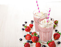 Strawberry fresh milkshake summer drink Stock Photos