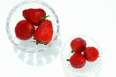 Strawberry. Fresh strawberry pieces in a rustic glass Royalty Free Stock Image