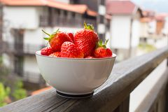Strawberry. Fresh Red Strawberries at the white bowl Stock Photography