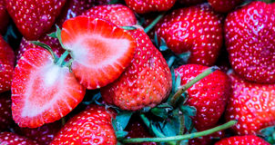 Strawberry. Fresh sliced strawberry and red Stock Images