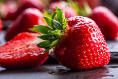 Strawberry. Fresh strawberry. Red strewberry. Strawberry Juice. Loosely laid strawberries in different positions.  Stock Photography