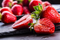 Strawberry. Fresh strawberry. Red strewberry. Strawberry Juice. Loosely laid strawberries in different positions.  Royalty Free Stock Photo