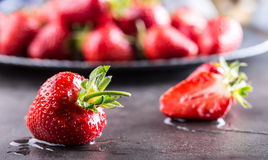 Strawberry. Fresh strawberry. Red strewberry. Strawberry Juice. Loosely laid strawberries in different positions.  Royalty Free Stock Photography
