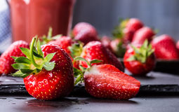 Strawberry. Fresh strawberry. Red strewberry. Strawberry Juice. Loosely laid strawberries in different positions.  Stock Photos