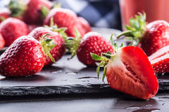 Strawberry. Fresh strawberry. Red strewberry. Strawberry Juice. Loosely laid strawberries in different positions.  Royalty Free Stock Image