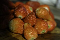 Strawberry fro refreshment your morning mood. Strawberry is sweet red color and tasty fruit from organic farm for cooking healthy diet day and give you vitamins royalty free stock photography