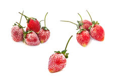 Strawberry frozen berries on white background.  Stock Photography