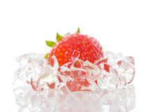 Strawberry frozen in ice stock images