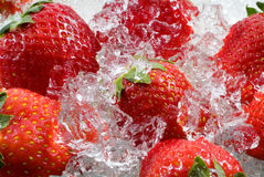 Strawberry frozen in ice Royalty Free Stock Image