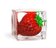 Strawberry frozen in ice cube Royalty Free Stock Photo
