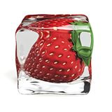 Strawberry Ice Cube 3d illustration. Strawberry frozen in ice cube Stock Image
