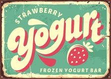 Strawberry frozen yogurt retro sign board design. Vector poster for fresh dairy product. Yogurt and milk banner Royalty Free Stock Images