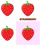 Strawberry Fruit Cartoon Drawing Design Set. Collection Stock Photo