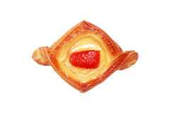 strawberry fruit danish bread isolated on white Stock Photography