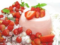 Strawberry fruit dessert with pudding Stock Photos
