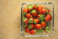 Strawberry fruit in a glass container. Royalty Free Stock Images