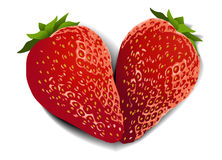 Strawberry fruit heart. Strawberry fruits with heart shape Royalty Free Stock Image