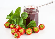 Strawberry fruit and jam Stock Photography