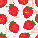 Strawberry fruit line seamless pattern Royalty Free Stock Images