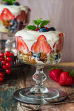 Strawberry fruit salad with honey yoghurt Stock Photo