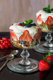 Strawberry fruit salad with honey yoghurt Royalty Free Stock Image