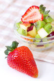 Strawberry and fruit salad in white plate Stock Image