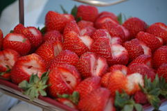 Strawberry Fruit. Strawberries cut and assorted onto a display plate Royalty Free Stock Image