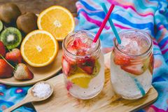 Strawberry and fruit sweet soda drink for health on summer.  Stock Photos
