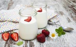 Strawberry Fruit Yogurt With Fresh Strawberries Royalty Free Stock Image