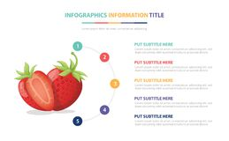 Free Strawberry Fruits Infographic Template With 5 Colorfull Bullet Number Description Stock Photos - 208099913