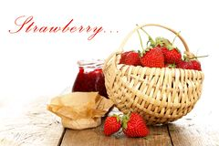 Strawberry fruits and jam Stock Photo