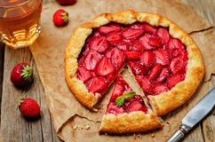 Strawberry galette with fresh strawberries Royalty Free Stock Image