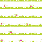 Strawberry garden bed seamless vector pattern. Stock Photos