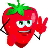 Strawberry gesturing the peace sign Stock Photography