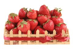 Strawberry in a gift wooden bo Stock Photo