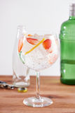 Strawberry gintonic on balon glass Royalty Free Stock Image
