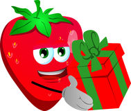 Strawberry giving you a gift box Royalty Free Stock Photography
