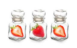 Strawberry in the  glass bottle Royalty Free Stock Images