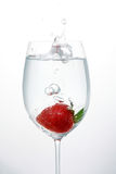 Strawberry, glass, bubbles Stock Photo