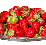 Strawberry. On a glass dish isolated on white background Royalty Free Stock Photography