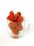 Strawberry in glass isolated on white Stock Photo