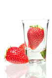 Strawberry glass. Strawberry Isolated on  white background Royalty Free Stock Image