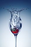 Strawberry in a glass with water. Royalty Free Stock Photo
