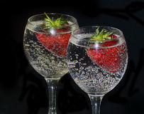 Strawberry in glass Royalty Free Stock Photos