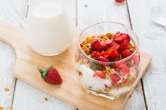 Strawberry , granola and yogurt healthy breakfast parfait Stock Images