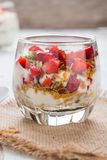 Strawberry , granola and yogurt healthy breakfast parfait Stock Photography