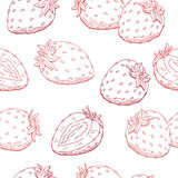 Strawberry graphic berry red color seamless pattern sketch illustration Royalty Free Stock Photo