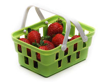 Strawberry Green Basket Commerce Stock Photos